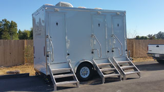 Restroom trailer rental @ park wedding in San Rafael, CA