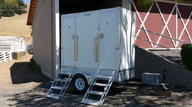 Rental restroom trailer @ private ranch in Novato, CA