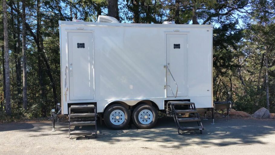 Our luxury restroom trailers are popular at many winery events, in this case an annual wine release party.