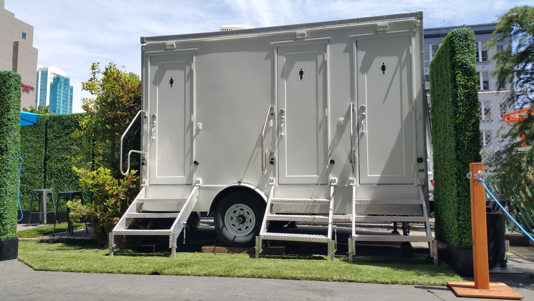 Deployed in San Francisco, our 3 stall air conditioned restroom trailer attends a corporate event.